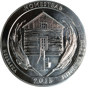 AMERICA THE BEAUTIFUL 2015 HOMESTEAD NEBRASKA 5 OZ SILVER 999 FINE 25C BU UNC