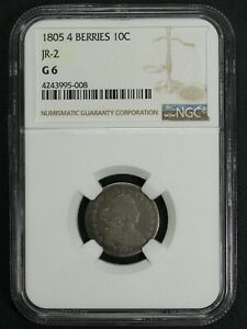 1805 4 BERRIES JR 2 DRAPED BUST SILVER DIME NGC G 06
