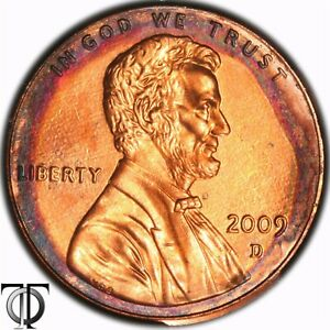 2009 D  LINCOLN BICENTENNIAL  CENT   TONED TONING RAINBOW 1.018