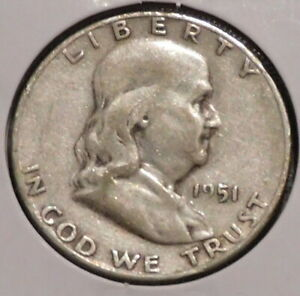 FRANKLIN HALF DOLLAR   1951 S   OVERSTOCK SALE    $1 UNLIMITED SHIPPING  002