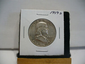 Click now to see the BUY IT NOW Price! 1959 D   BEN FRANKLIN   HALF  DOLLAR      50 CENT PIECE   COIN   59D  GOOD GRADE