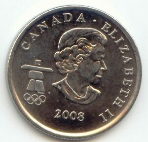 CANADA 2008 CANADIAN QUARTER TWENTY FIVE CENT 25C WINTER OLYMPICS BOBSLED LOT Z