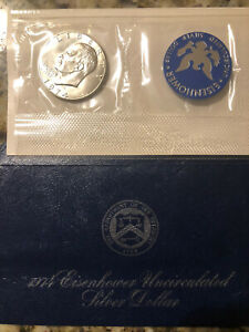 1974 EISENHOWER UNCIRCULATED SILVER DOLLAR BLUE PACK