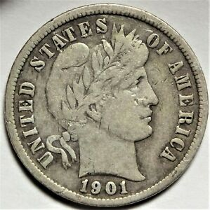 1901 S BARBER SILVER DIME CHOICE FINE VF BETTER DATE SAN FRANCISCO 10C COIN