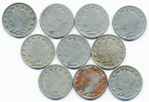 10 DIFFERENT LIBERTY NICKELS INCLUDING BOTH 1883 VARIETIES