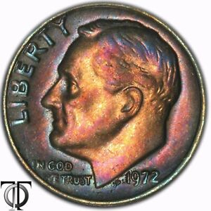 1972   ROOSEVELT DIME BU COIN TONED 3.269