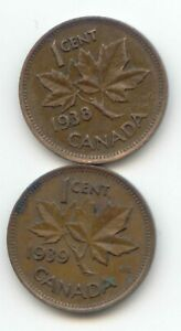 CANADA 1938   1939 CANADIAN PENNY ONE CENT 1C   EXACT COIN SET SHOWN