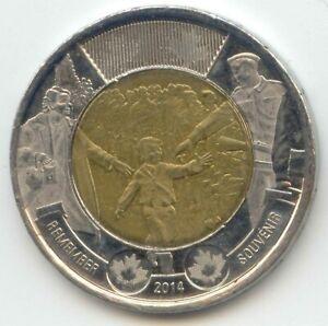 CANADA 2014 TOONIE REMEMBER CANADIAN $2 DOLLARS TWO DOLLAR EXACT COIN