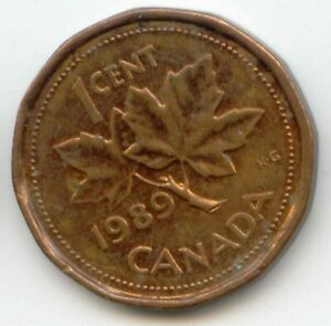 CANADA 1989 PENNY CANADIAN 1 CENT COIN 1C EXACT COIN SHOWN