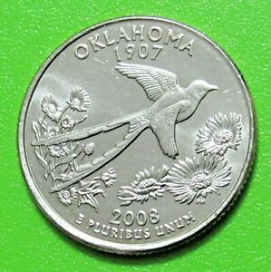 2008 P 25C OKLAHOMA STATE QUARTER   UNCIRCULATED FROM MINT ROLL