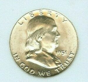 1951 D FRANKLIN SILVER 50 CENT APPEARS GEM  UNCIRCULATED FULL BELL LINES @@@ INC