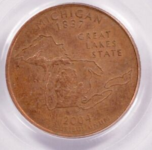 Click now to see the BUY IT NOW Price! PCGS 25C 2004 P MICHIGAN QUARTER REVERSE MISSING CLAD LAYER MS62 BROWN
