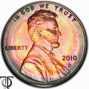2010 D LINCOLN  SHIELD  CENT  TONED TONING RAINBOW 1.288