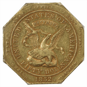 Click now to see the BUY IT NOW Price! 1852 $50 ASSAY 887 PCGS XF45 CALIFORNIA TERRITORY GOLD