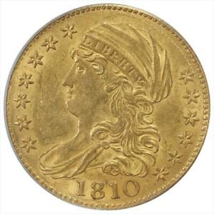 1810 CAPPED BUST $5 GOLD HALF EAGLE PCGS MS 58 LARGE DATE LARGE 5