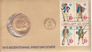 1975 BICENTENNIAL FIRST DAY COVER COMMEMORATIVE MEDAL & STAMPS LOT 1