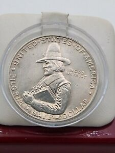 1920 PILGRIM COMMEMORATIVE SILVER HALF DOLLAR UNC DETAILS BEAUTIFUL COIN