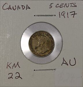 CANADA 5 CENTS 1917. ALMOST UNCIRCULATED. KM 22