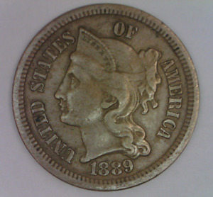 1889 THREE CENT PIECE NICKEL NICE KEY DATE UNITED STATES TYPE COIN 3 C.