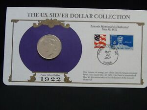 1922 PEACE SILVER DOLLAR & STAMP COLLECTION LINCOLN MEMORIAL DEDICATED MAY 1942