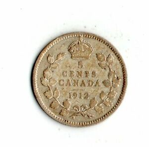 1912 CANADA 5 CENTS SILVERCOIN    6944