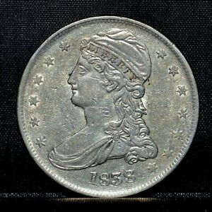 1838 CAPPED BUST HALF DOLLAR  AU ALMOST UNC DET  50C REEDED EDGE D13 TRUSTED