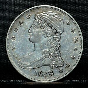 1838 CAPPED BUST HALF DOLLAR  AU ALMOST UNC DET  50C REEDED EDGE E14 TRUSTED