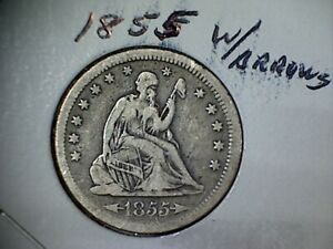 1855 W/ARROWS LIBERTY SEATED SILVER QUARTER