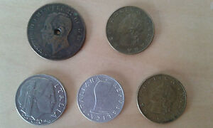 USED  BATCH OF 5 COINS ITALY   ITEM FOR COLECCTORS