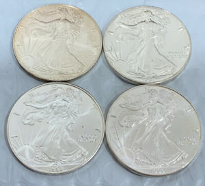 1996 1997 1998 & 1999 AMERICAN SILVER EAGLE BUNDLE TOUGHER YEARS FROM BU ROL