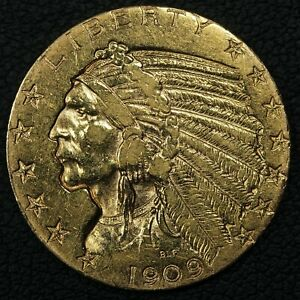 1909 $5 FIVE DOLLAR GOLD INDIAN HALF EAGLE   CLEANED