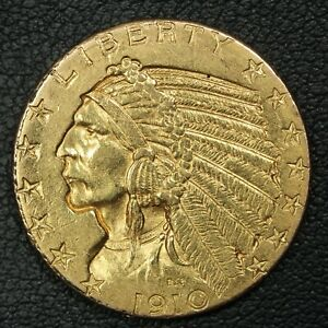 1910 $5 FIVE DOLLAR GOLD INDIAN HALF EAGLE   REVERSE DAMAGE