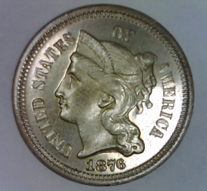 1876 THREE CENT PIECE NICKEL CHOICE PROOF NICE UNITED STATES TYPE COIN 3 C.
