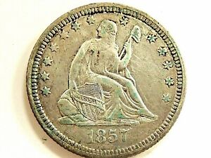1857 SEATED LIBERTY SILVER QUARTER WITHOUT MOTTO