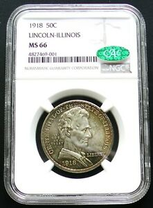 Click now to see the BUY IT NOW Price! 1918 LINCOLN ILLINOIS COMMEMORATIVE HALF DOLLAR NGC MS66 CAC
