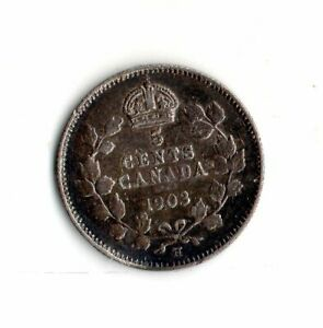 1903 H  CANADA 5 CENTS SILVERCOIN
