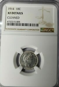 1914 10C BARBER DIME   NGC XF DETAILS