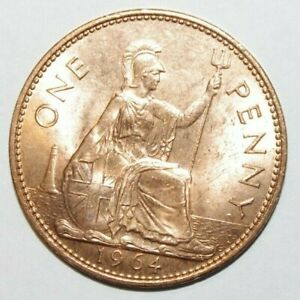 1964 LARGE PENNY GREAT BRITAIN UNC / OR HIGH GRADE AND HIGH VALUE COIN 2