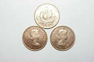 1967 1/2 PENNY GREAT BRITAIN / UK LOT OF 3 VALUE COINS