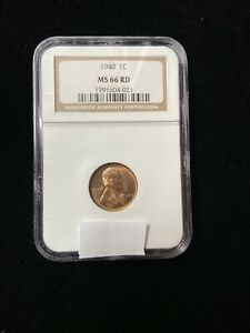 1940 LINCOLN WHEAT CENT NGC MS 66 RD   RED WHEAT PENNY   CERTIFIED SLAB   1C