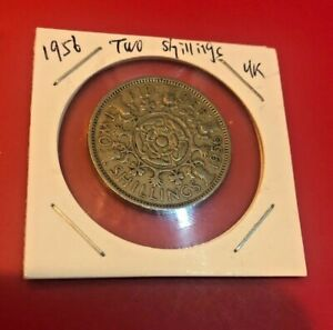 GREAT BRITAIN UK  1956 TWO 2  SHILLINGS WORLD COIN