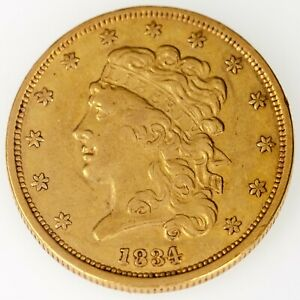 1834 $5 HALF EAGLE GOLD LIBERTY PLAIN 4 IN XF CONDITION GORGEOUS EARLY GOLD