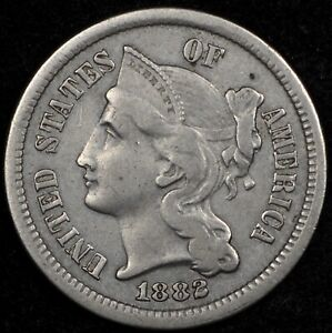 BEAUTIFUL HIGH GRADE XF 1882 THREE CENT NICKEL. LOW MINTAGE KEY DATE
