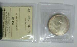 CANADA 1936 SILVER DOLLAR ICCS GRADED UNCIRCULATED GREAT COIN