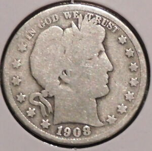 BARBER HALF   1908 S   HISTORIC SILVER    $1 UNLIMITED SHIPPING
