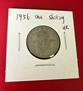 1956 UK BRITAIN BRITISH ONE 1 SHILLING LIONS SHIELD COIN WORLD COIN