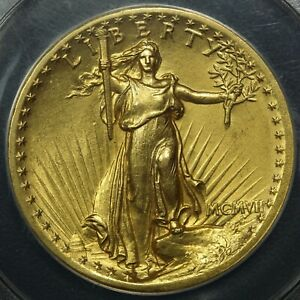 1907 HIGH RELIEF ST. GAUDENS $20 GOLD DOUBLE EAGLE ANACS MS 61 'GORGEOUS'