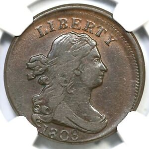 1808 NGC XF DETAILS OFF CENTER DRAPED BUST HALF CENT COIN 1/2