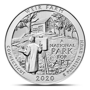 2020 5OZ .999 FINE SILVER AMERICA THE BEAUTIFUL WEIR FARM CONNECTICUT