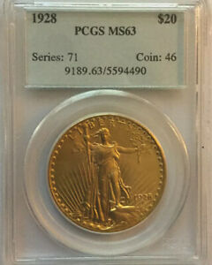 1928 $20 GOLD SAINT GAUDENS PCGS MS63